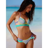 Купальник пуш ап Victoria's Secret Banded Hottie Halter Happy Stripe